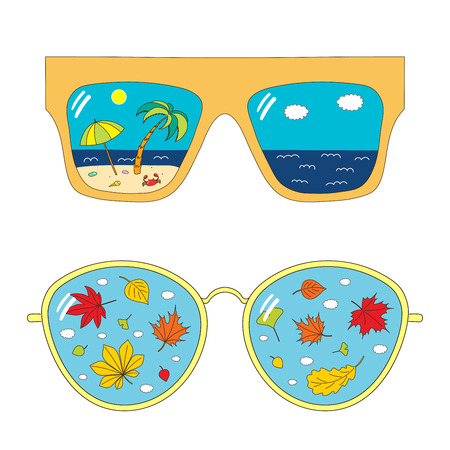 Hand drawn vector illustration of different glasses with beach scene and autumn leaves reflected inside the lenses. Isolated objects on white background. Design concept for change of seasons.