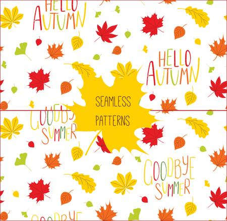 秋の 2 つの手描きシームレスなベクトル パターンのセット葉し、白い背景に、こんにちは秋、さようなら夏の引用します。繊維印刷、壁紙、包装紙