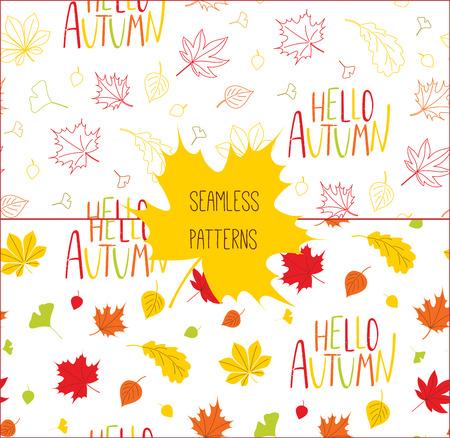 秋の紅葉の手描きシームレス パターンの設定、こんにちは秋、白い背景の上を引用します。繊維印刷、壁紙、包装紙のための概念をデザインします