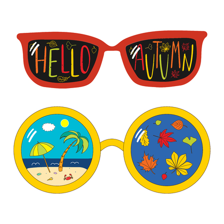 Hand drawn vector illustration of different glasses, with text Hello Autumn, beach scene and leaves inside the lenses. Isolated objects on white background. Design concept for change of seasons.