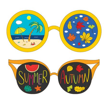Hand drawn vector illustration of sun glasses, with text Summer Autumn, beach scene, starfish, leaves inside the lenses. Isolated objects on white background. Design concept for change of seasons. Çizim