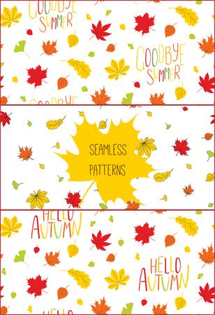 秋と手描きのシームレス パターンのセットは葉し、白い背景に、こんにちは秋、さようなら夏の引用します。繊維印刷、壁紙、包装紙のための概念  イラスト・ベクター素材