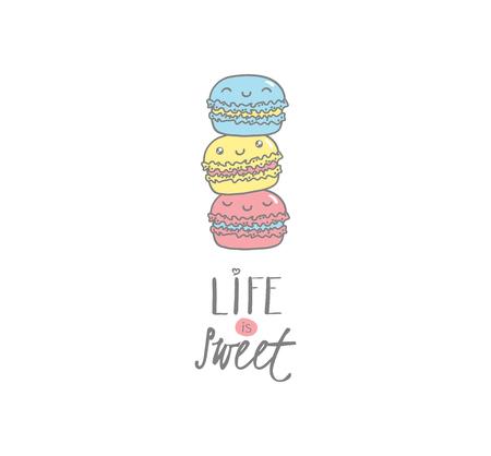Hand getrokken vectorillustratie van schattige macarons, met tekst Het leven is zoet. Geïsoleerde objecten op witte achtergrond. Ontwerp concept dessert, kinderen, wenskaart, motiverende poster.