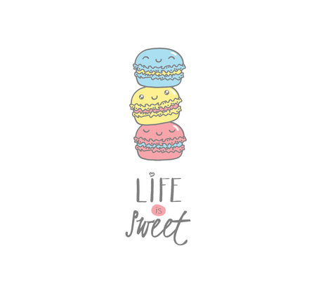 Hand drawn vector illustration of cute macarons, with text Life is sweet. Isolated objects on white background. Design concept dessert, kids, greeting card, motivational poster.