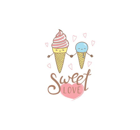 Hand drawn vector illustration of cute ice cream cones, with text Sweet love. Isolated objects on white background. Design concept dessert, kids, greeting card, motivational poster.