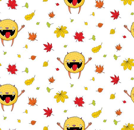 白地に秋の葉の間で喜んでジャンプかわいい小さな怪物と手描きのかわいいシームレスな背景パターン。子供の繊維印刷、壁紙、包装紙のデザイン   イラスト・ベクター素材