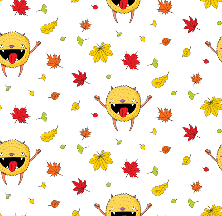 Hand drawn cute seamless vector pattern with a cute little monster jumping happily among the autumn leaves, on a white background. Design concept for children textile print, wallpaper, wrapping paper.