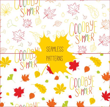 秋の紅葉の手描きシームレス パターンの設定、さようなら夏には、白い背景の上を引用します。繊維印刷、壁紙、包装紙のための概念をデザインし