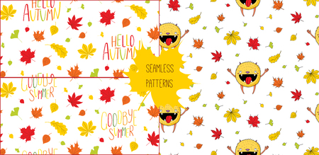 Set of hand drawn seamless vector patterns with happy little monster, autumn leaves and quotes Hello autumn, Goodbye summer, on a white background. Design concept for children textile print, wallpaper