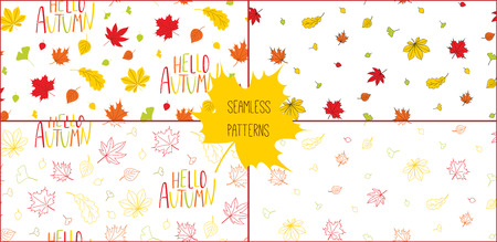 Set of hand drawn seamless vector patterns with autumn leaves and quote Hello autumn, on a white background. Design concept for textile print, wallpaper, wrapping paper. Illustration
