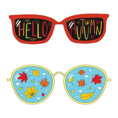 Hand drawn vector illustration of vintage glasses, with text Hello Autumn, falling leaves and clouds inside the lenses. Isolated objects on white background. Design concept for change of seasons.