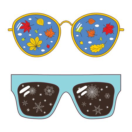 Hand drawn vector illustration of different glasses with autumn leaves, snowflakes and clouds reflected inside the lenses. Isolated objects on white background. Design concept for change of seasons.