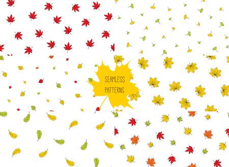 秋と手描きのシームレス パターンのセットは、白い背景の上 (オーク、栗、バーチ、イチョウ、もみじ、紅葉)、別の木から葉します。テキスタイル  イラスト・ベクター素材