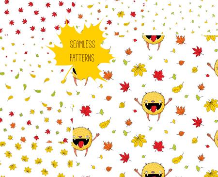 Satz von acht Hand gezeichneten nahtlosen Vektormustern mit glücklichem nettem kleinem und fallendem Herbstlaub, auf einem weißen Hintergrund. Gestaltungskonzept für Kinder Textildruck, Tapete, Geschenkpapier. Standard-Bild - 88891001