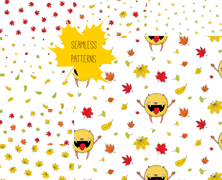 Set of eight hand drawn seamless vector patterns with happy cute little monster and falling autumn leaves, on a white background. Design concept for children textile print, wallpaper, wrapping paper. Zdjęcie Seryjne - 88891001