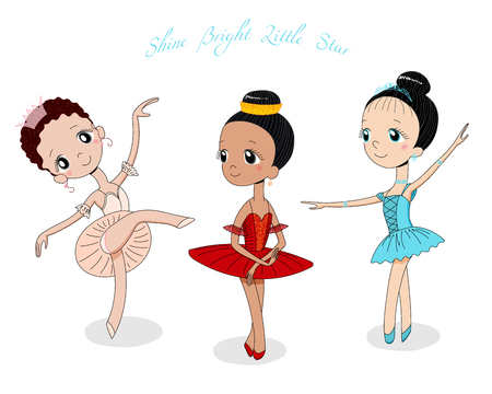 Hand drawn vector illustration of cute little ballerina girls in different poses and colours, text Shine bright little star. Isolated objects on white background. Design concept for children, dancing. Vectores