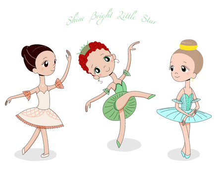 Hand drawn vector illustration of cute little ballerina girls in different poses and colours, text Shine bright little star. Isolated objects on white background. Design concept for children, dancing. Illustration