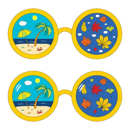 Hand gezeichnete Vektorillustration von runden Gläsern mit Strandszene und Herbstlaub reflektierte sich innerhalb der Linsen. Lokalisierte Gegenstände auf weißem Hintergrund. Design-Konzept für den Wechsel der Jahreszeiten. Standard-Bild - 88891049