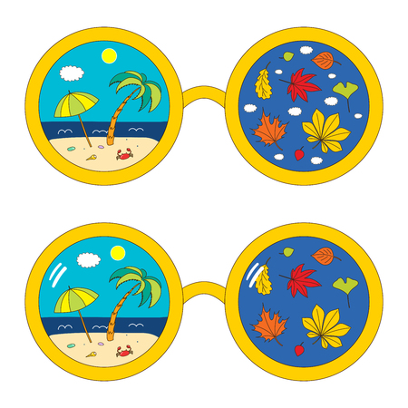 Hand drawn vector illustration of round glasses with beach scene and autumn leaves reflected inside the lenses. Isolated objects on white background. Design concept for change of seasons. Illustration