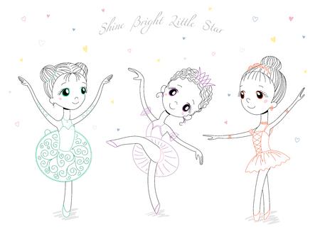 手の種類のポーズや色のかわいい小さなバレリーナ女の子の描かれたベクトル イラスト、本文輝く明るい星。白い背景の上の孤立したオブジェクト
