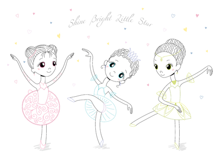 Hand drawn vector illustration of cute little ballerina girls in different poses and colours, text Shine bright little star. Isolated objects on white background. Design concept for children, dancing. Ilustração