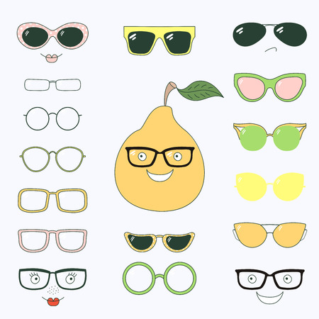 Hand drawn vector illustration of a cute funny pear with a set of different faces, glasses and sunglasses. Isolated objects. Design concept for children. Do it yourself.