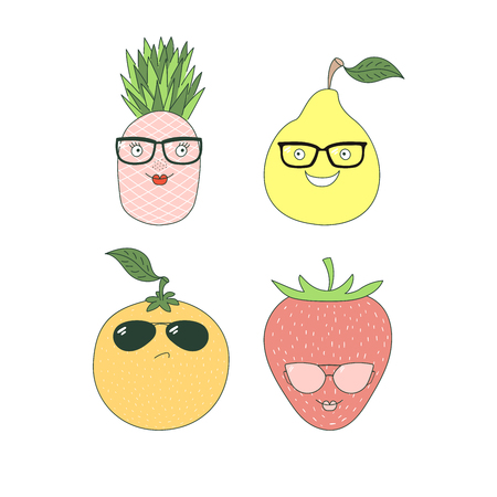 Set of hand drawn cute funny stickers with different fruits (pineapple, orange, pear, strawberry) in glasses. Isolated objects on white background. Vector illustration Design concept for children. Ilustração