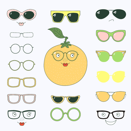 Hand drawn vector illustration of a cute funny orange with a set of different faces, glasses and sunglasses. Isolated objects. Design concept for children. Do it yourself. Ilustração