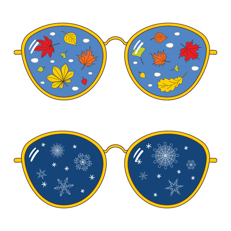 Hand drawn vector illustration of thin rim glasses with autumn leaves, snowflakes and clouds reflected inside the lenses. Isolated objects on white background. Design concept for change of seasons.