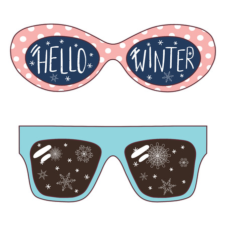 Hand drawn vector illustration of oversized sunglasses, with text Hello Winter, snowflakes reflected inside the lenses. Isolated objects on white background. Design concept for change of seasons. Иллюстрация