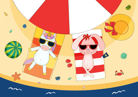 Hand drawn vector illustration of a cute bunny and unicorn in sunglasses lying on towels, in the shade of a beach umbrella, with straw hat and watermelon. Isolated objects. Design concept for children Vectores