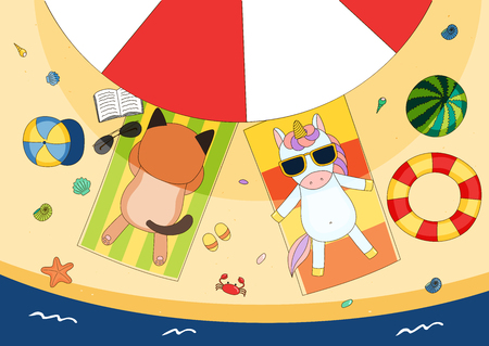 mollusc: Hand drawn vector illustration of a cute cat and unicorn in sunglasses lying on towels, in the shade of a beach umbrella, with swim ring and watermelon. Isolated objects. Design concept for children. Illustration