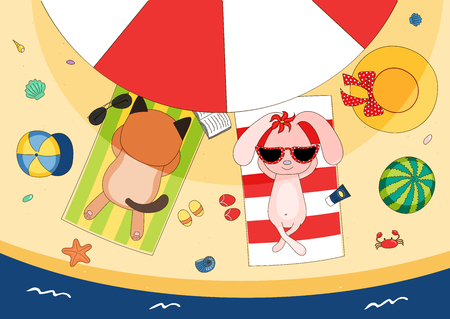 Hand drawn vector illustration of a cute koala cat and bunny in sunglasses lying on towels, in the shade of a beach umbrella, with straw hat and watermelon. Isolated objects. Design concept children.
