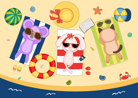 Hand drawn vector illustration of a cute koala, bunny and cat in sunglasses on the beach, lying on striped towels, with swimming ring and watermelon. Isolated objects. Design concept for children