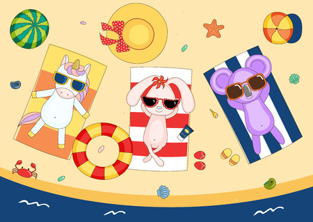 Hand drawn vector illustration of a cute unicorn, bunny and koala in sunglasses on the beach, lying on striped towels, with swimming ring and watermelon. Isolated objects. Design concept for children. Illustration