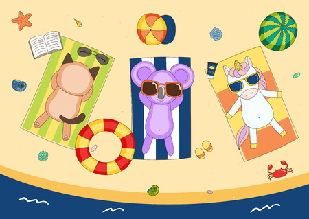 swimming cap: Hand drawn vector illustration of a cute unicorn, cat and koala in sunglasses on the beach, lying on striped towels, with swimming ring and watermelon. Isolated objects. Design concept for children.