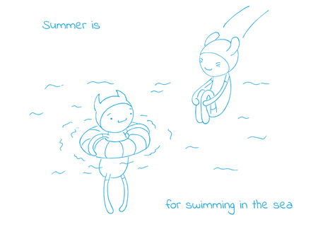 Hand drawn vector illustration of funny cartoon creatures in jump suits and hats, text Summer is for swimming in the sea. Design concept for children - postcard, poster, sticker, T-shirt print