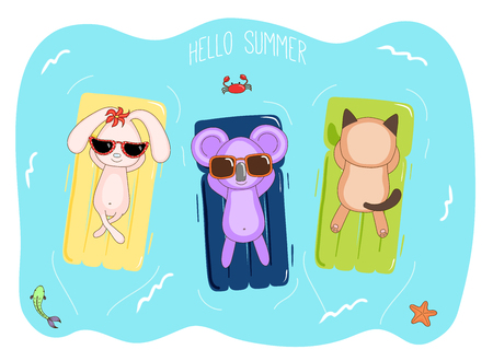 Hand drawn vector illustration of a koala, bunny and cat in sunglasses floating in the sea on inflatable air mattresses, with fish, starfish and crab, text Hello Summer. Design concept for kids.