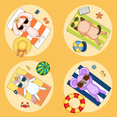 swimming cap: Set of hand drawn cute funny vector charachters in sunglasses - koala, bunny, cat, unicorn - on the beach, lying on striped towels, sunbathing. Isolated objects. Children illustration.
