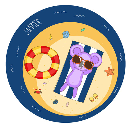 Hand drawn vector illustration of a cute koala in sunglasses lying on a beach towel, sunbathing, with swim ring, flip flops, starfish and crab, text Summer. Isolated objects. Design concept children.