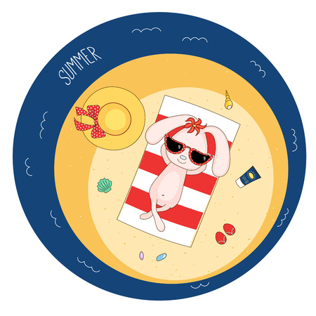 Hand drawn vector illustration of a cute bunny in sunglasses lying on a striped beach towel, sunbathing, with straw hat, flip flops and flower, text Summer. Isolated objects. Design concept children. Illustration