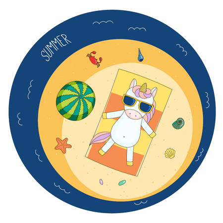 mollusc: Hand drawn vector illustration of a cute unicorn in sunglasses lying on a beach towel, sunbathing, with watermelon, starfish, crab and shells, text Summer. Isolated objects. Design concept children.