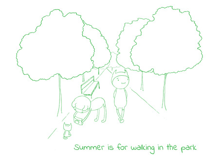 Hand drawn vector illustration of funny cartoon creatures in jump suits and hats, text Summer is for walking in the park. Design concept for children - postcard, poster, sticker, T-shirt print. 向量圖像