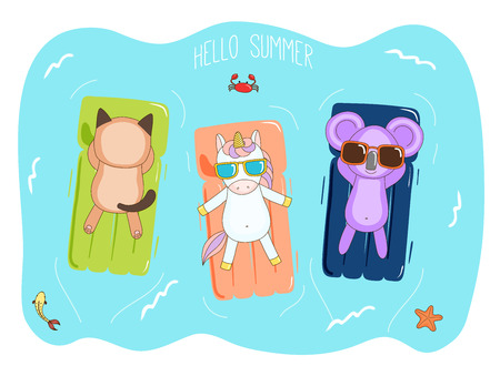 Hand drawn vector illustration of a unicorn, koala and cat in sunglasses floating in the sea on inflatable air mattresses, with fish, starfish and crab, text Hello Summer. Design concept for kids.