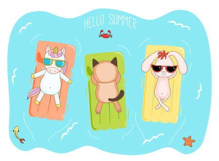 Hand drawn vector illustration of a unicorn, bunny and cat in sunglasses floating in the sea on inflatable air mattresses, with fish, starfish and crab, text Hello Summer. Design concept for kids.