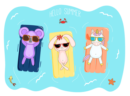 Hand drawn vector illustration of a unicorn, koala and bunny in sunglasses floating in the sea on inflatable air mattresses, with fish, starfish and crab, text Hello Summer. Design concept for kids.
