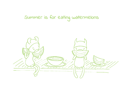 Hand drawn vector illustration of funny cartoon creatures in jump suits and hats, text Summer is for eating watermelons. Design concept for children - postcard, poster, sticker, T-shirt print.