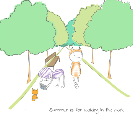 Hand drawn vector illustration of funny cartoon creatures in striped jump suits and hats, text Summer is for walking in the park. Design concept for childrens postcard, poster, sticker, T-shirt print 向量圖像