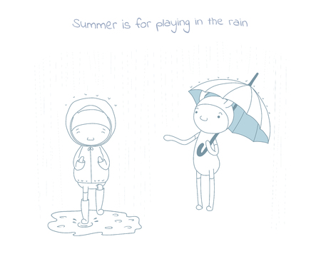 Hand drawn vector illustration of funny cartoon creatures in jump suits, one holding umbrella, another in raincoat and rubber boots, text Summer is for playing in the rain. Design concept for children