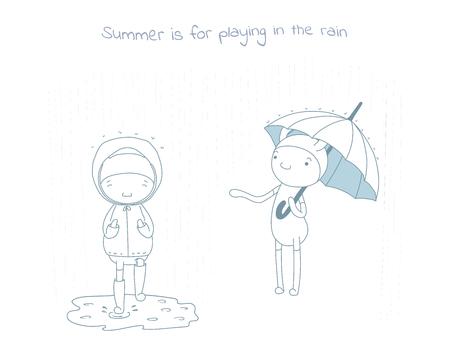 滑稽的动画片生物的手拉的传染媒介例证在跳衣服的,一个拿着伞,另一个在雨衣和橡胶靴,文本夏天在雨中玩。儿童设计概念